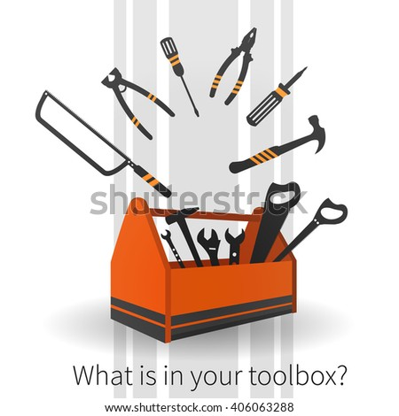 Vector background with orange toolbox and plane working tools. Text - What is in your toolbox?