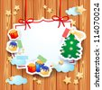 Vector background with paper elements, Christmas theme - stock photo