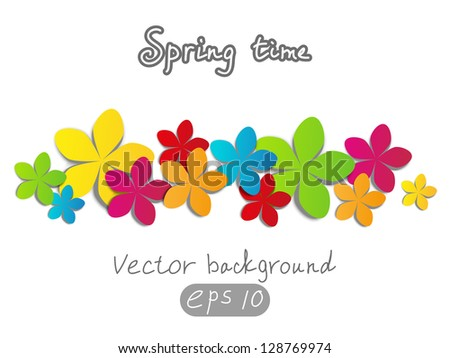 Vector background with paper flowers - stock vector