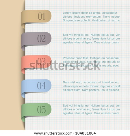 Vector background with paper numbered tags - stock vector