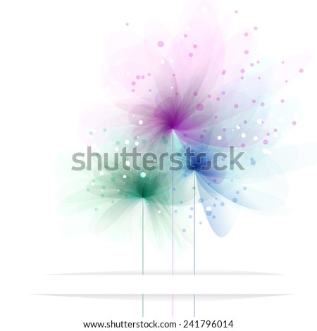 Vector background with pastel flowers. EPS 10. Contains transparent objects. - stock vector