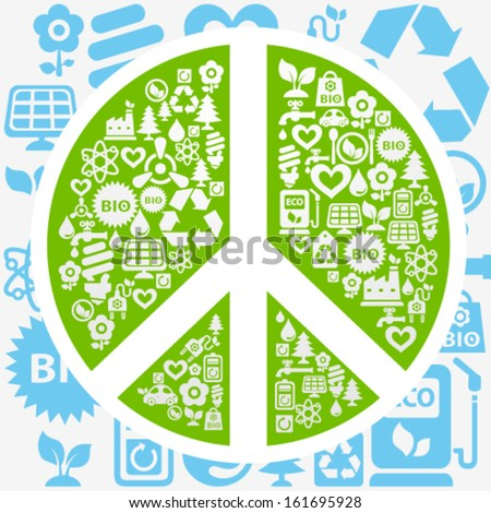 Vector background with peace shape contained from ecology icons - stock vector