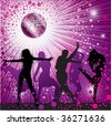 Vector background with people dancing in night-club, disco-ball and glitters - stock vector