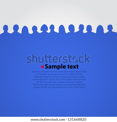 Vector background with people silhouette. - stock vector