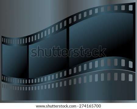 Vector background with photographic film. A film strip with reflection. - stock vector