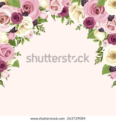 Vector background with pink and white roses and lisianthus flowers, blackberries and green leaves isolated on a white background. - stock vector