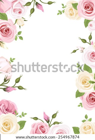 Vector background with pink and white roses, lisianthus flowers and green leaves. - stock vector