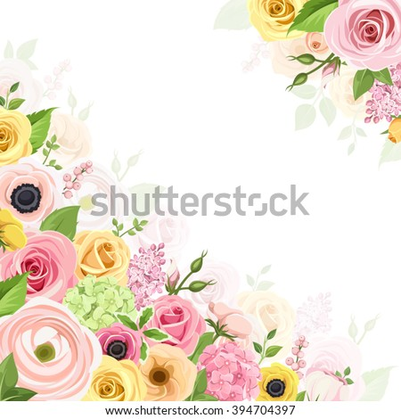 Vector background with pink, orange and yellow roses, lisianthuses, anemones, ranunculus and hydrangea flowers and green leaves.