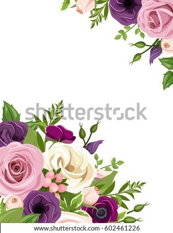 Vector background pink purple white orange stock vector 2018 vector background with pink purple white and orange roses lisianthus and anemone flowers mightylinksfo
