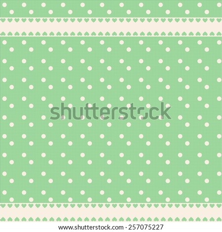 Vector background with polka dots and hearts