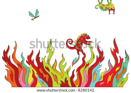Vector background with psychedelic styled animals swarming in grass
