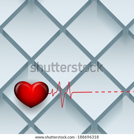 vector background with pulse and hearts. Eps10