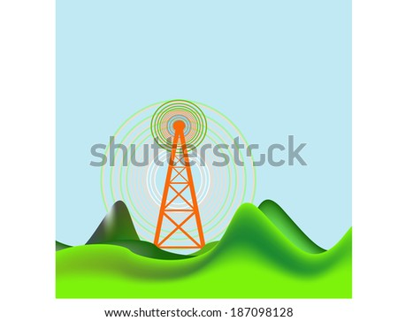Vector background with radio signal - stock vector