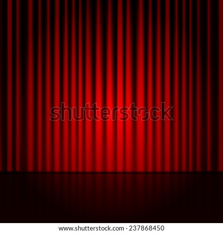 Vector background with red curtains. Spotlight on stage curtain. - stock vector