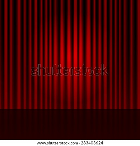 Vector background with red curtains. Spotlight on stage curtain.