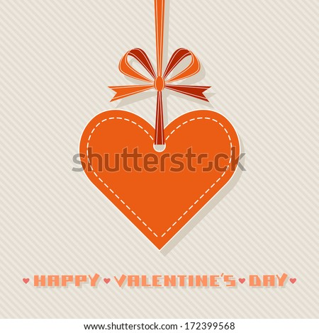 Vector background with red heart, ribbon, bow. Original design element. Simple festive label. Greeting, invitation cute card with sample text Happy Valentine's Day. Simple illustration for print, web - stock vector