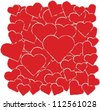 vector background with red hearts - stock vector