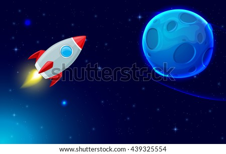 Vector background with rocket flying in space and blue planet