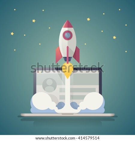 vector background with rocket launch - stock vector