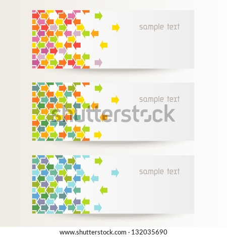 Vector background with seamless pattern of color arrows. Brochure template with text box. Set of abstract cards with concept of movement. Banners with simple decorative design element for print, web - stock vector