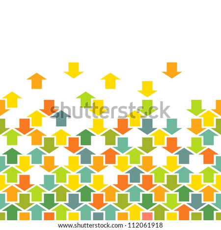 Vector background with seamless pattern of color arrows. Simple illustration with concept of movement, cooperation and concord with text box. Abstract combinatorial illustration for print and web - stock vector