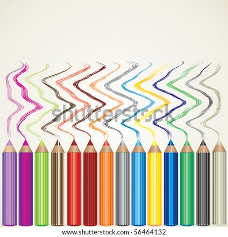 Vector background with set of color pencils and lines - stock vector