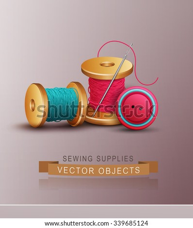 vector background with sewing accessories ( thread, spools, needle and button) - stock vector