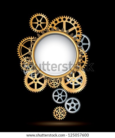vector background with silver and golden gears like flower - stock vector