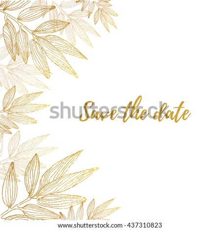 Vector background with sketch botanical golden branche isolated on white