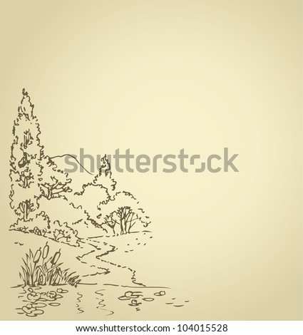 Vector background with sketch of the summer landscape with a forest path to a quiet lake with water lilies - stock vector