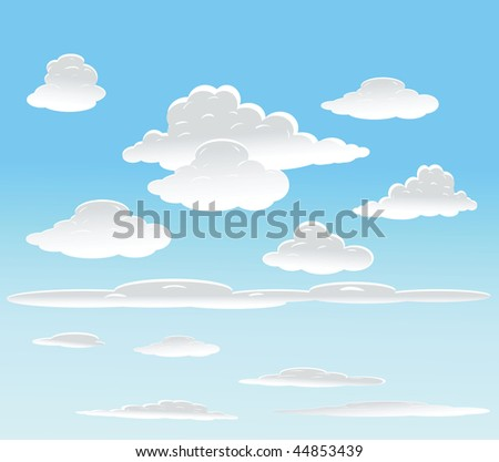 vector background with sky and clouds. - stock vector