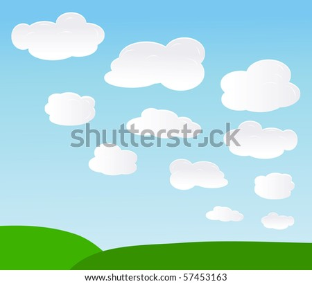 vector background with sky and clouds.