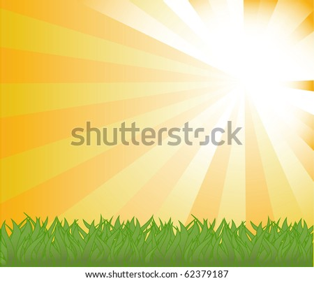 vector background with sky and grass. - stock vector
