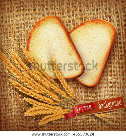 vector background with slices of sliced bread (loaf) lying on the background of burlap with of scattered flour and wheat ears - stock vector