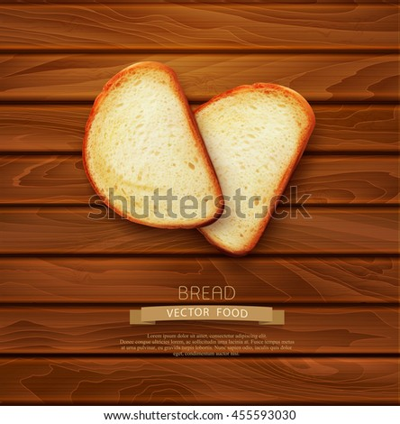 vector background with slices of sliced bread (loaf) lying on the wooden background - stock vector