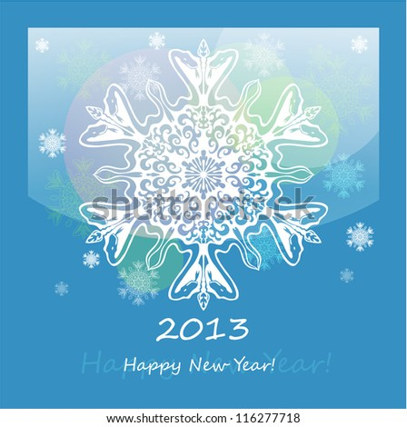 Vector background with snowflake with snake, symbol of 2013 new year, EPS10