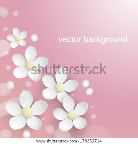 vector background with spring flowers - stock vector