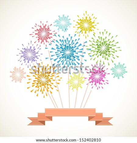 Vector background with stylized fireworks of color triangles and decorative ribbon. Invitation and greeting card with salute. Abstract simple geometric illustration with text box for print, web  - stock vector
