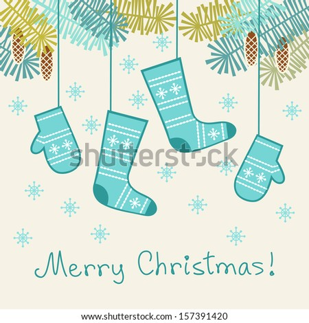 Vector background with stylized mittens, socks, branches of christmas tree, cones, snowflakes. Invitation, greeting card with lettering - Merry Christmas. Abstract winter decorative illustration  - stock vector