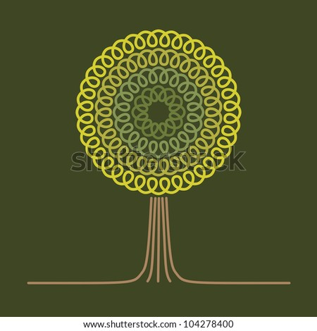 Vector background with stylized tree. Card with text box. Abstract illustration for print and web - stock vector