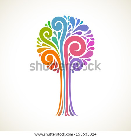 Vector background with stylized tree of teardrop-shaped and swirl element. Colorful decorative card. Concept of art and creation. Abstract illustration for print and web - stock vector