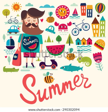 Vector background with summer symbols - stock vector