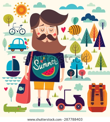 Vector background with summer symbols: hipster man, sailboat, bee, motorbike, trees, crocodile. Cartoon pattern