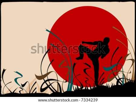 vector background with sun and karate fighter in front - stock vector