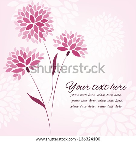 Vector background with three flowers, card template with place for your text - stock vector