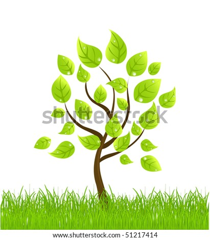 vector background with tree and grass. - stock vector
