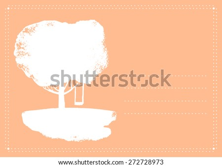 Vector background with tree and swing. Template for design greeting cards, wedding invitation, covers.