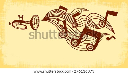 Vector background with trumpet, music staff and notes. Horizontal composition.