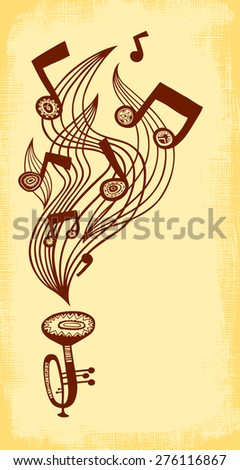 Vector background with trumpet, music staff and notes. Vertical composition.