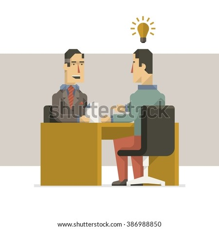 vector background with two people in an interview - stock vector